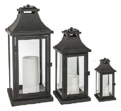 Northern International GL28647BK Lantern, Black, 3-Pack