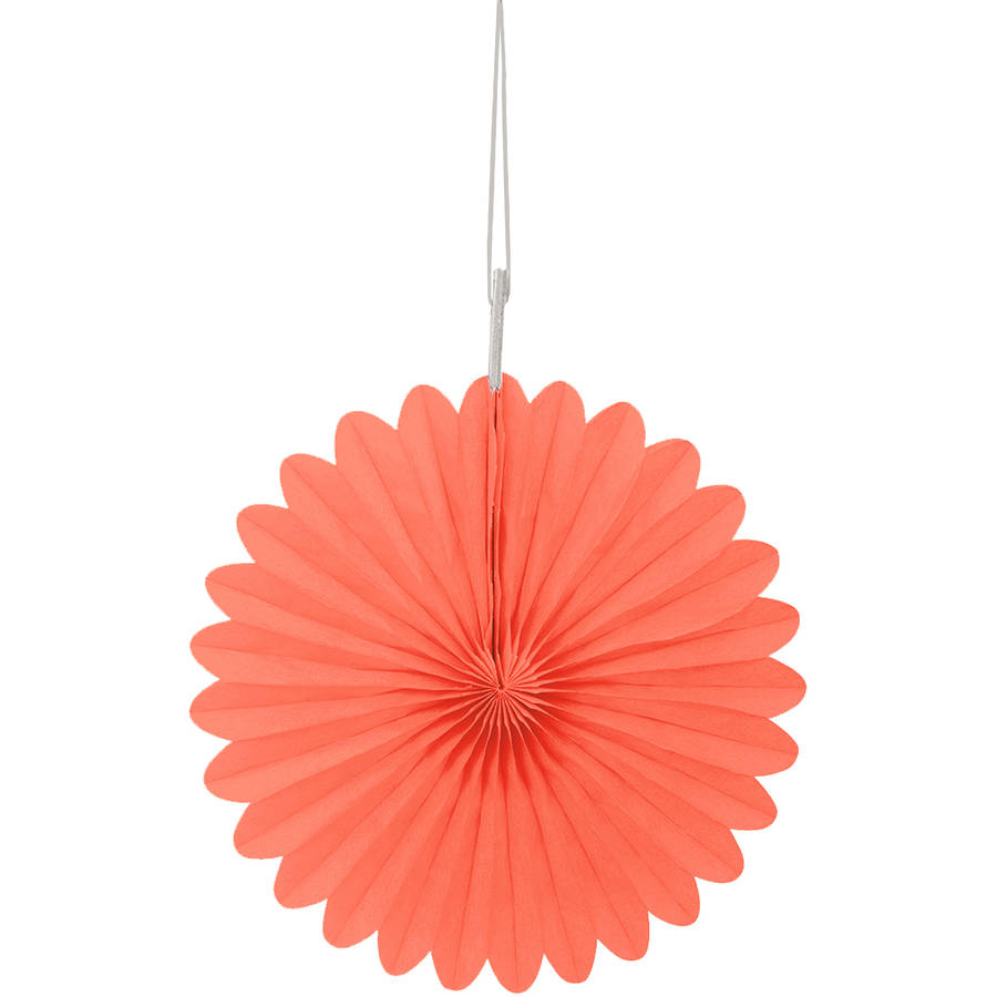 Tissue Paper Fan Decorations, 6 in, Coral, 3ct