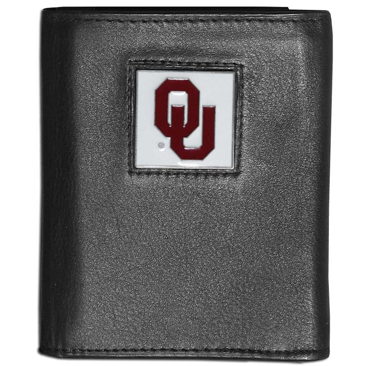 Oklahoma Sooners Deluxe Leather Tri-fold Wallet Packaged in Gift Box (F)