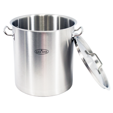 Gas One Stainless Steel Brew Kettle Pot 5 Gallon 20 Quart Satin Finish With Lid