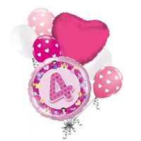 7 pc 4th Happy Birthday Princess & Castle Balloon Bouquet Party Decoration Pink