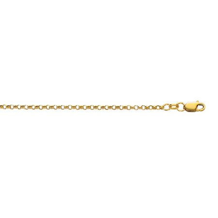 - 10k Yellow Gold 2.30mm Sparkle-Cut Rolo Chain With Lobster Clasp Necklace - Length: 16 to 20