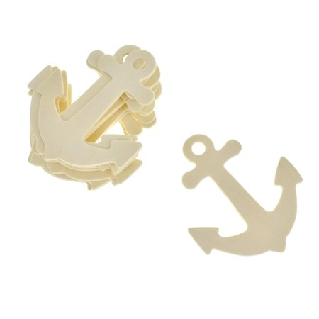 Anchor Shaped Wooden Cut-Outs, Ivory, 3-1/2-Inch, (Ivory Embellishments)