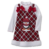 76f098b10 Product Image Youngland Infant Toddler Girls 2 PC Penguin Plaid Dress  Outfit Jumper Shirt 4T