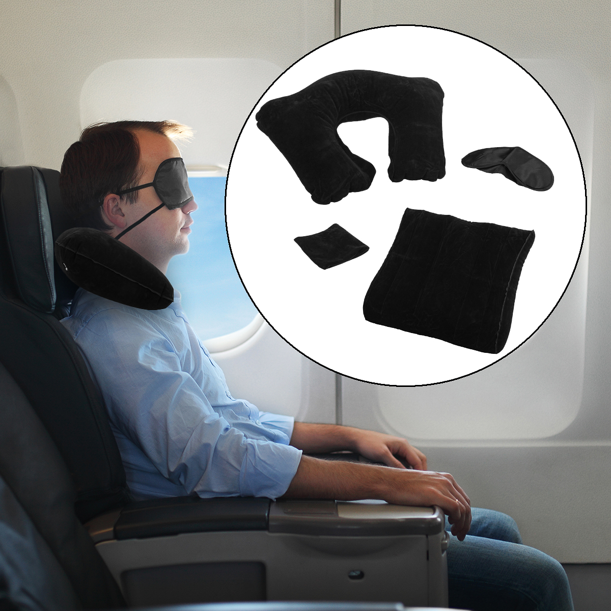 3pc E-Z Travel Set Inflatable Travel Pillow For Airplanes Eye Shade Back Cushion by