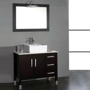 Cambridge Plumbing Espresso Hickory Solid Oak 36-inch Bathroom Vanity Set w/ Brushed-nickel Faucet