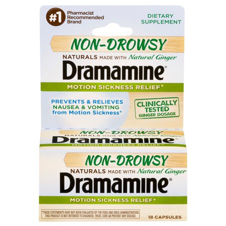 Dramamine Non-Drowsy Naturals Motion Sickness Relief, 18 Count (Dramamine Tablet Motion Sickness)