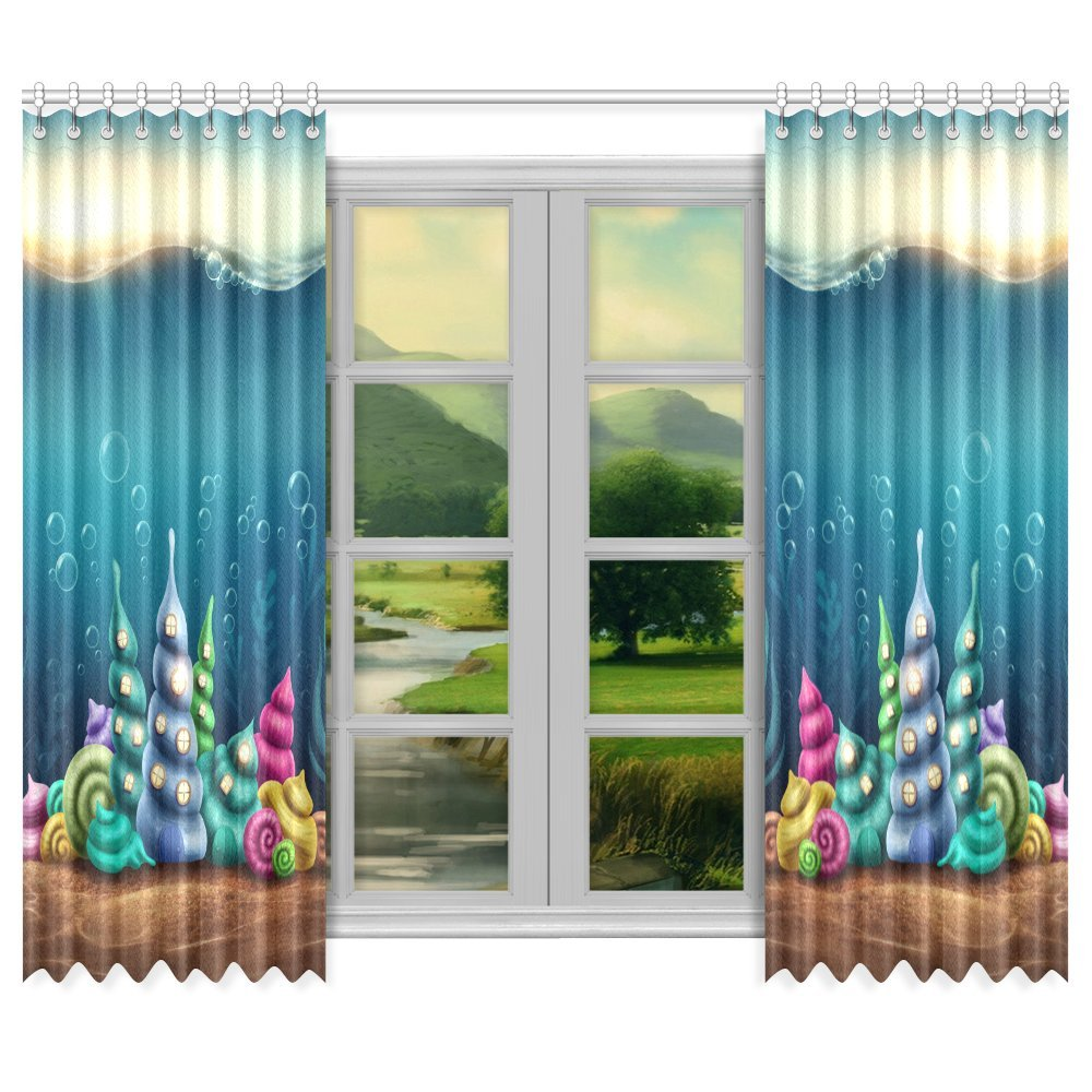Kitchen Unit Curtains: MKHERT Shell Houses Thermal Insulated Blackout Window