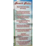 "Beach Rules Summer Garden Flag Decorative Yard Banner 12"" x 30"""