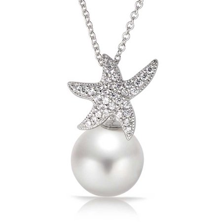 Nautical Bride CZ Beach Starfish Pendant Necklace For Women Sterling Silver Simulated Pearl 8MM 16 -