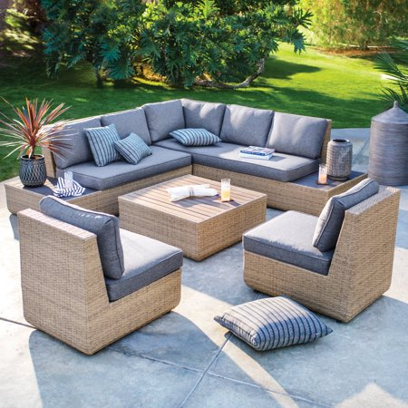 Belham Living Luciana Villa All-Weather 5-Piece Wicker Sectional Patio Conversation Set