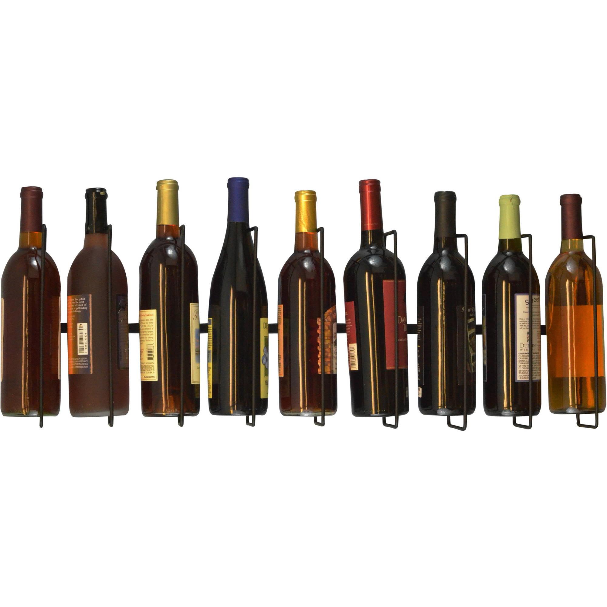 Wall Mount Wine Bottle Storage Rack Holds Bar Organizer Black CHRISTMAS GIFT