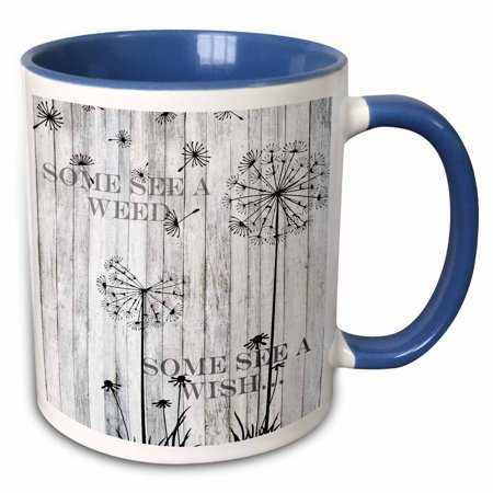 3dRose Some See A Weed Wish Quotes Saying Phrases Dandelion - Two Tone Blue Mug, 11-ounce](Halloween Phrases Sayings)