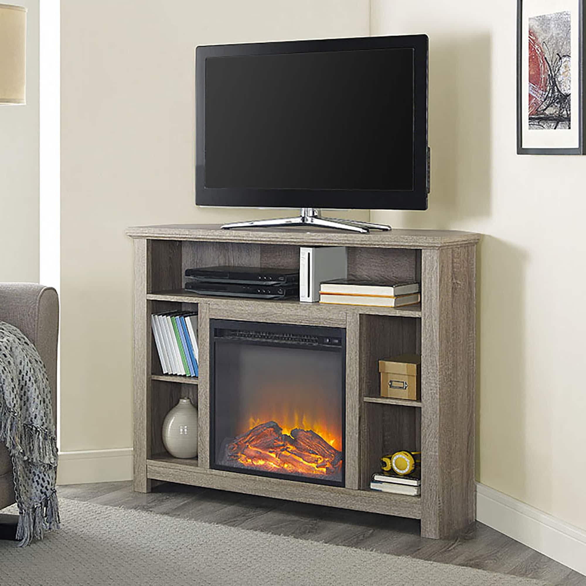 "Middlebrook Designs 44"" Highboy Corner Fireplace TV Stand - Driftwood - 44 x 16 x 30h"