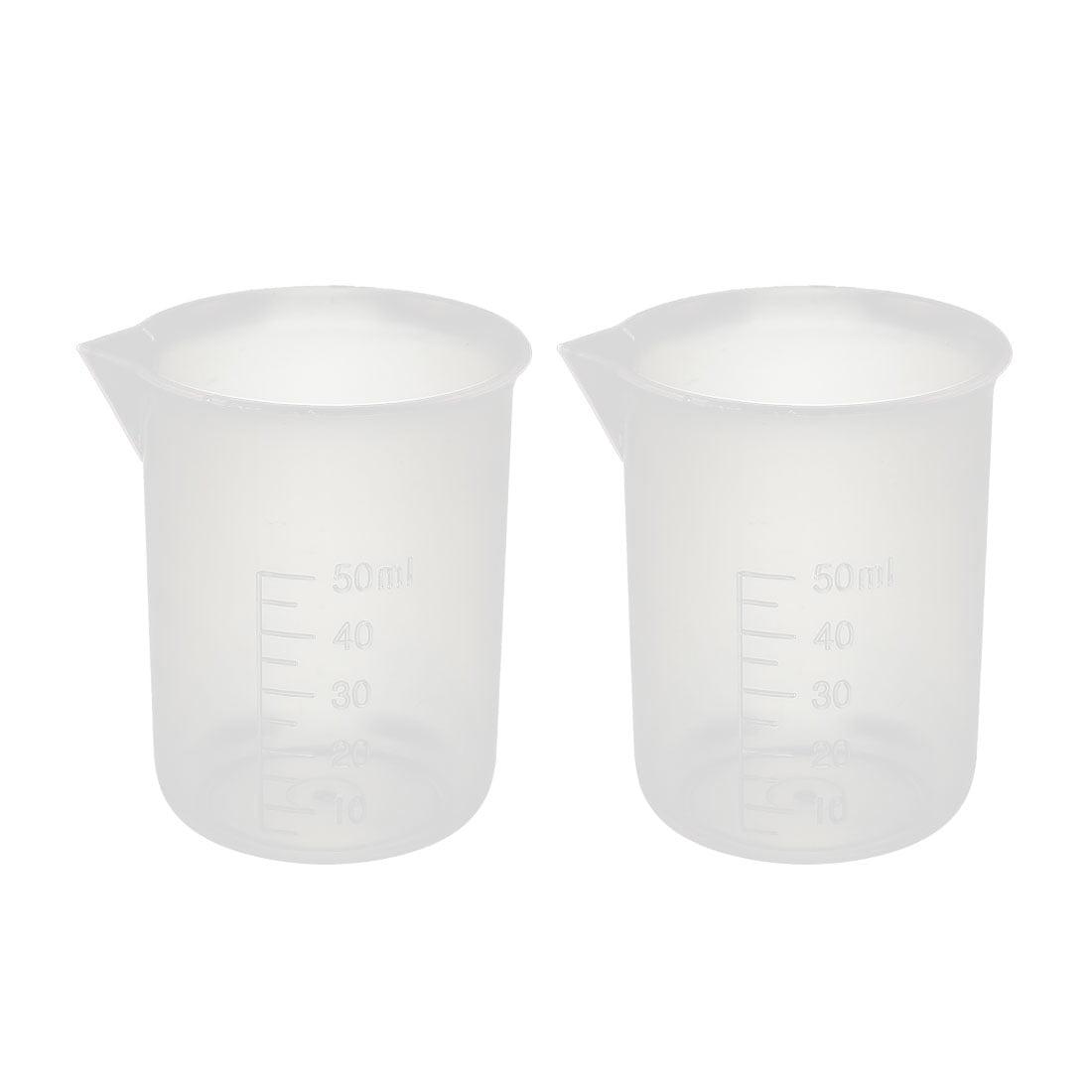 2 Pcs 50mL Laboratory Transparent Plastic Liquid Container Measuring Cup Beaker by