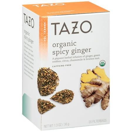 Tazo Tea Tazo Organic Spicy Ginger Herbal Infusion Tea Caffeine Free 20 Count Tea Bags