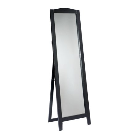 Black wood frame rectangle floor standing mirror 18 x 64 for Black framed floor mirror