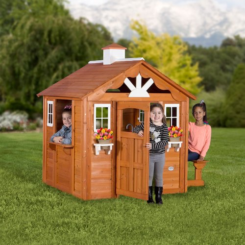 Backyard Discovery Cedar Cottage backyard discovery summer cottage wooden cedar playhouse - walmart