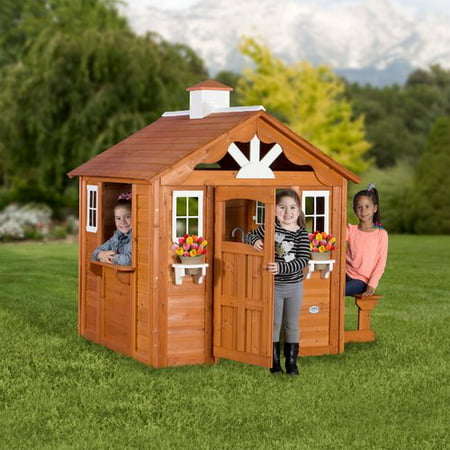 Backyard Discovery Summer Cottage Wooden Cedar Playhouse Walmartcom