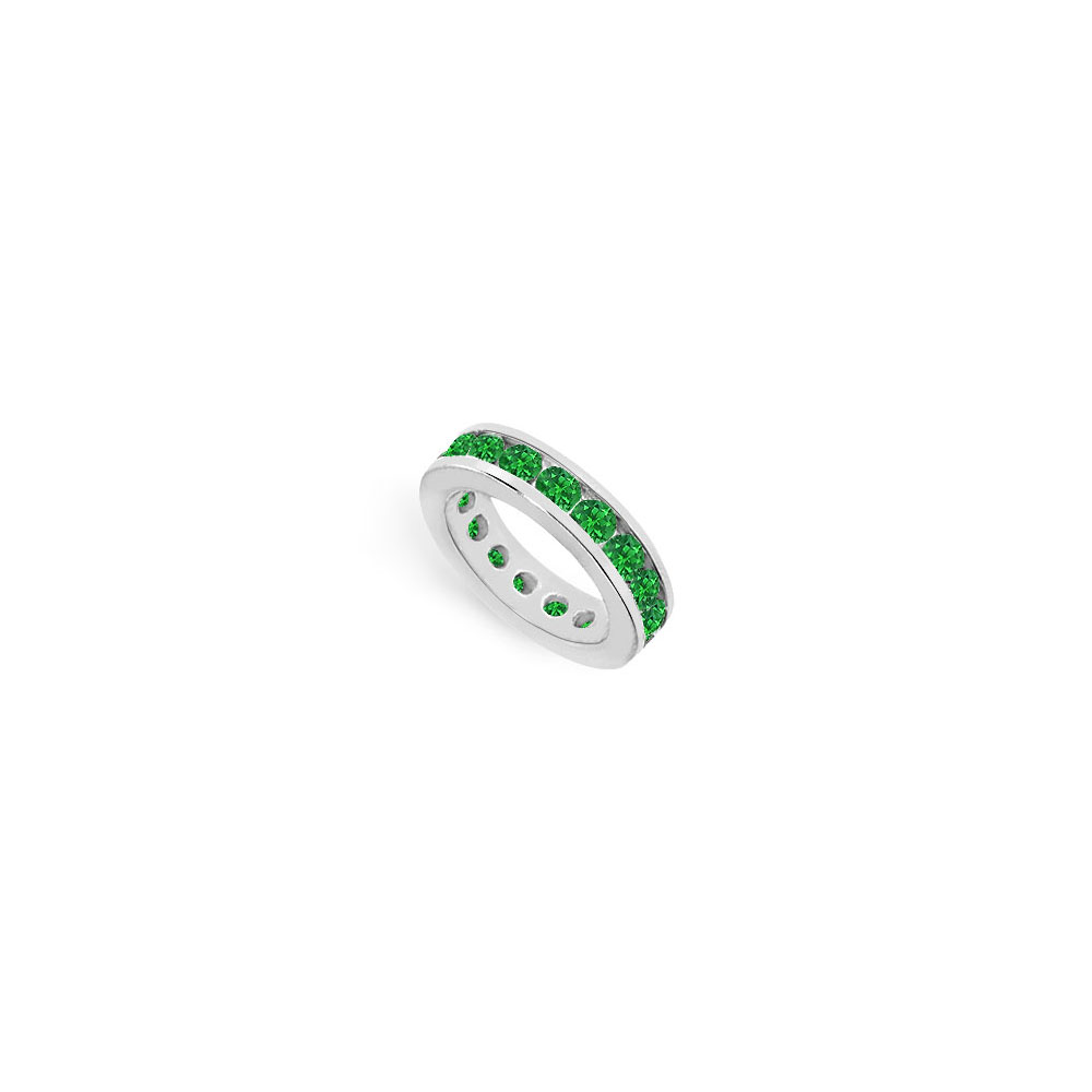 Created Emerald Eternity Ring Stackable Band Sterling Silver. 10ct.tw - image 2 de 2