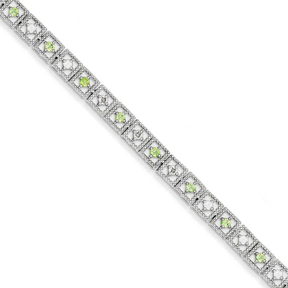Sterling Silver Peridot Diamond Bracelet .02 dwt .92 cwt by