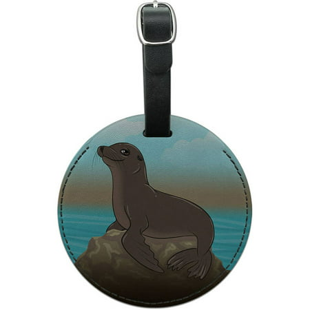 Sea Lion on Rock Seal Round Leather Luggage ID Tag Suitcase Carry-On