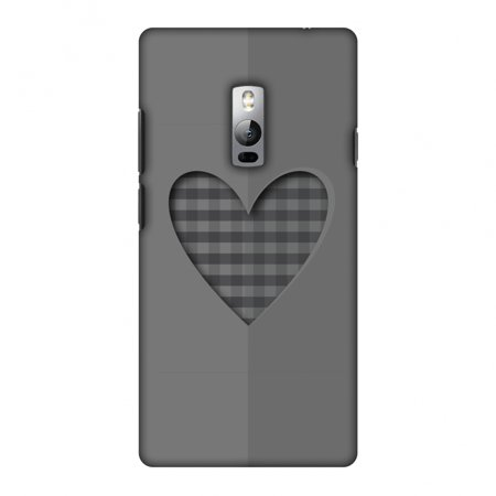 OnePlus 2 Case, Premium Handcrafted Printed Designer Hard Snap On Case Back Cover for OnePlus 2 - Grey Heart Two Hearts Snap