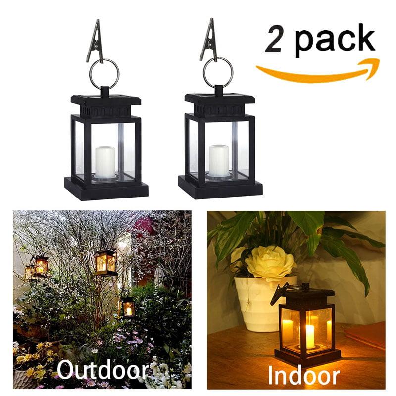 (1~10 Pack)Solar Lights Outdoor Hanging Solar Lantern , Solar Garden Lights for Patio Landscape Yard, Warm White Candle Flicker, Dusk to Dawn Auto Sensor On Off