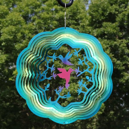 Sunnydaze Hummingbird Garden Wind Spinner with Metal Hanging Hook, Outdoor Reflective 3D Whirligig, 12-Inch, Turquoise