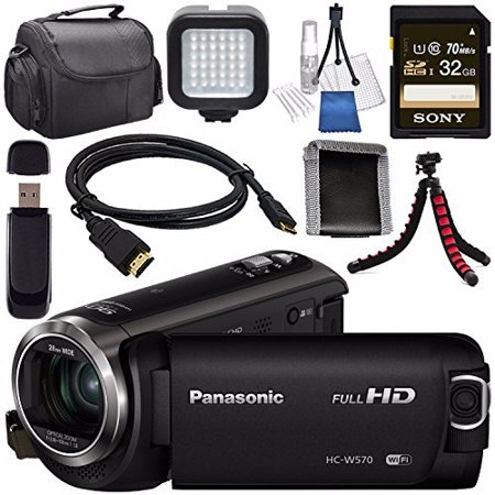 Panasonic HC-W570 HC-W570K HD Camcorder + Sony 32GB SDHC Card + Lens Cleaning Kit + Flexible Tripod + Carrying Case + Memory Card Wallet + Card Reader + Mini HDMI Cable + LED Light