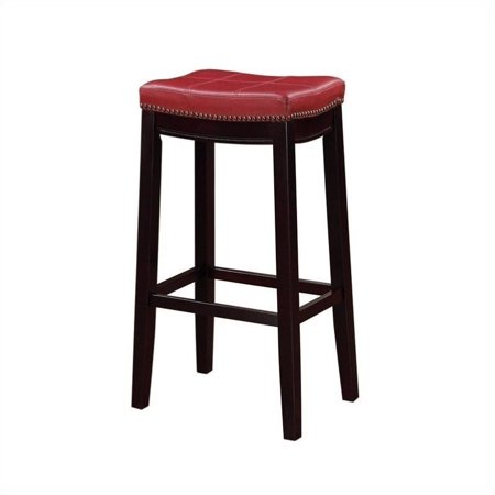 Awesome Linon Claridge 32 Faux Leather Bar Stool In Red And Dark Espresso Alphanode Cool Chair Designs And Ideas Alphanodeonline