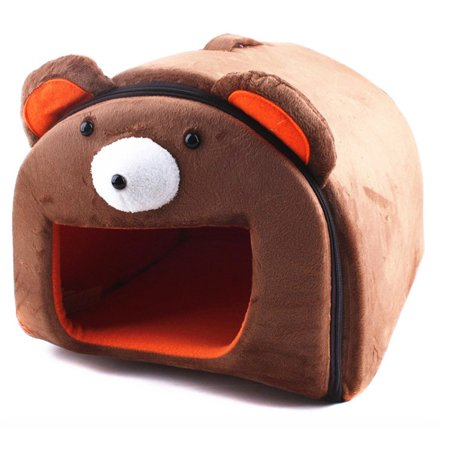 Lovely Small Pets Zip Cotton Nest Detachable House Hamster Guinea Pig Warm Bed Cote(Bear Pattern) - Brown M