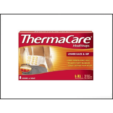 ThermaCare Lower Back & Hip Pain Relief Therapy Heatwraps (L-XL Size) for Muscles & Joint Pain, 12 Wraps = 6 Boxes -