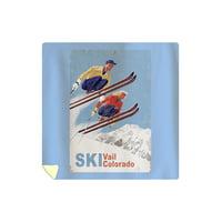 Vail, Colorado - Vintage Skiers - Lantern Press Artwork (88x88 Queen Microfiber Duvet Cover)
