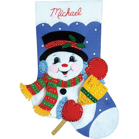 Snowman With Broom Stocking Felt Applique Kit, 16