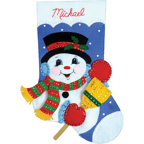 "Snowman With Broom Stocking Felt Applique Kit, 16"" Long"