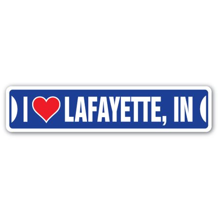 I LOVE LAFAYETTE, INDIANA Aluminum Street Sign in city state us wall road décor - Party City Lafayette In
