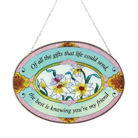 Beautiful Floral Friend Suncatcher Gift - Stained Glass Colorful Outdoor or Indoor Window Hanging ()