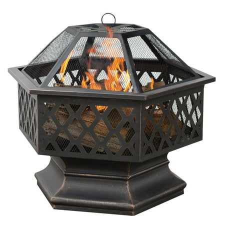 Blue Rhino , WAD1377SP, Hex Shaped Outdoor Fire Bowl with Lattice, Oil Rubbed