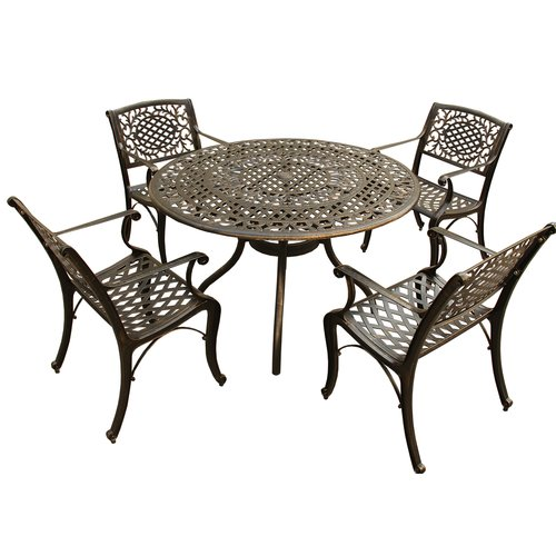 Fleur De Lis Living Casperson Ornate Mesh Lattice 5 Piece Dining Set