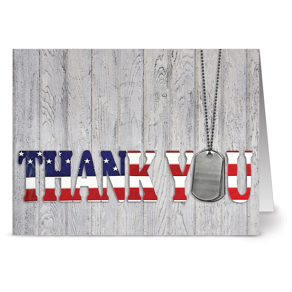 24 Patriotic Note Cards - Thank You for Your Service - Blank Cards - Red Envelopes Included