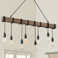 "Possini Euro Design Tomas 42 1/4""W Black and Wood Grain 8-Light Island Pendant"