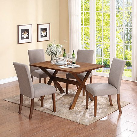 Trestle 5-Piece Dining Set with Linen Parsons Chairs, Dark Pine/Taupe