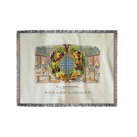 Turn Verein Brand Cigar Box Label - Gymnastics (60x80 Woven Chenille Yarn Blanket) ()