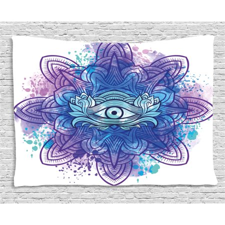 Eye Tapestry, Third Eye with Hand Drawn Mandala Vivid Colors Aura Inner Peace Awareness Chakra, Wall Hanging for Bedroom Living Room Dorm Decor, 60W X 40L Inches, Aqua Blue Purple, (Aqua Aura Point)