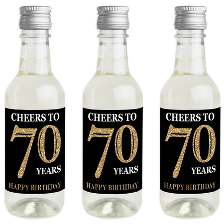 Adult 70th Birthday - Gold - Mini Wine and Champagne Bottle Label Stickers - Birthday Party Favor Gift - Set of 16 - Wine Party Favors