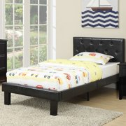 Poundex Upholstered Platform Bed, Twin, Multiple (Solid Pine Twin Size Bed)