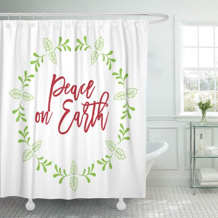KSADK Christmas Related Word Script Text Design with Circle Floral for Peace On Earth Shower Curtain 66x72 inch ()