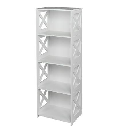 4 Shelf Shelving Unit Waterproof Modular Cross White Wooden Plastic Composite 4 Tier Shelving Unit Storage Shelf Bookcase Display Shelf For Bedroom