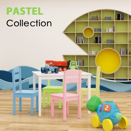 Costway 5 Piece Kids Wood Table Chair